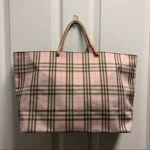Authentic Burberry Pink Check Open Top Tote Bag
